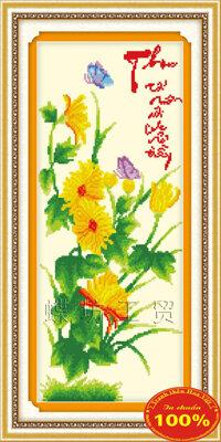 Tranh tứ quý mùa thu hoa cúc - DLH-222503