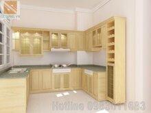 Tủ bếp gỗ sồi Nga TBS03