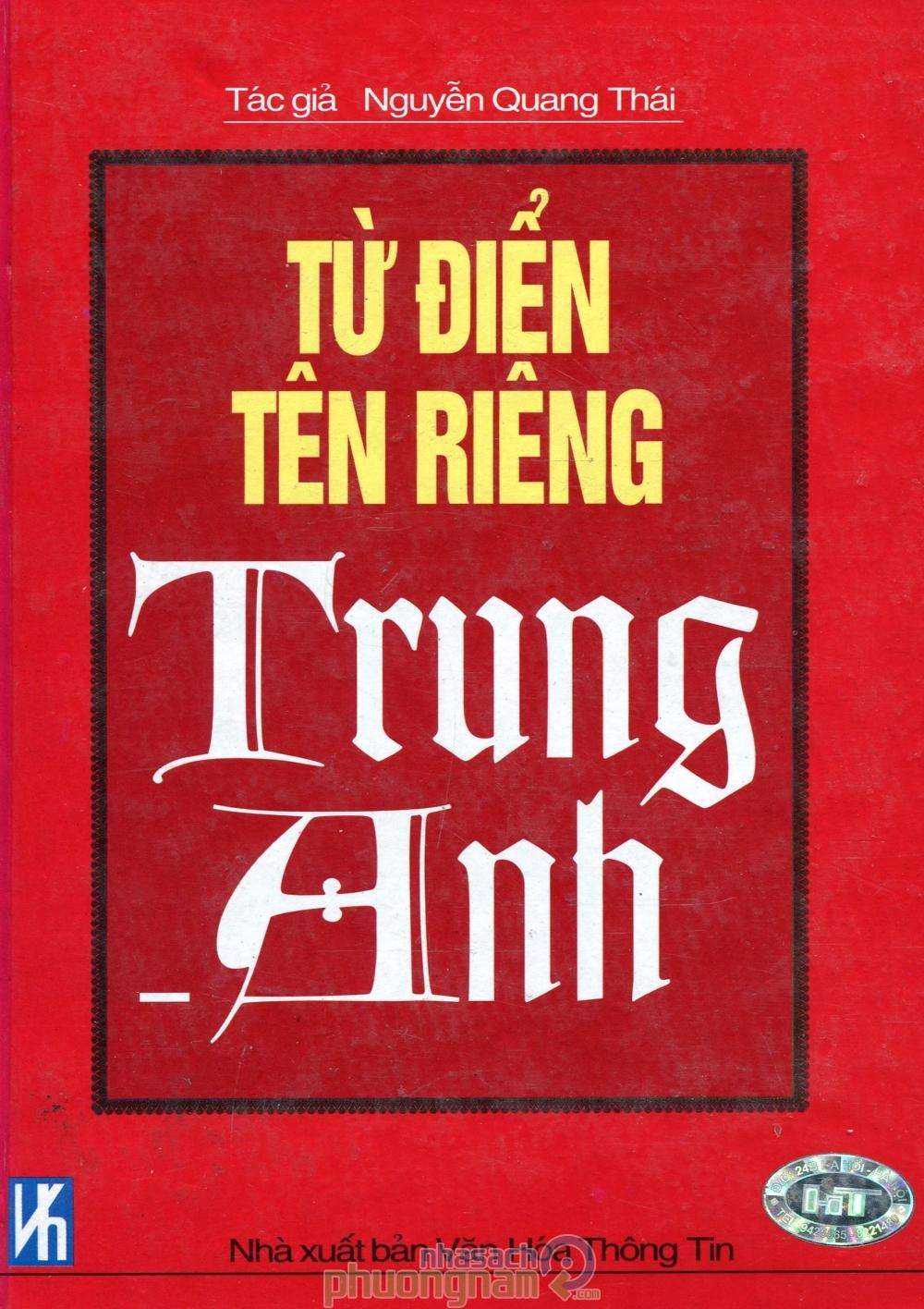 Từ điển tên riêng Trung – Anh – Nguyễn Quang Thái