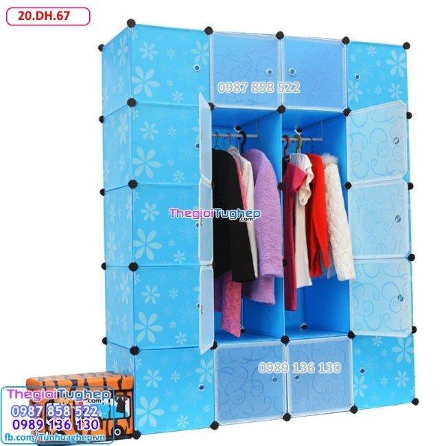 Tủ nhựa lắp ghép 20 ô, cửa trắng trong 20.DH.67