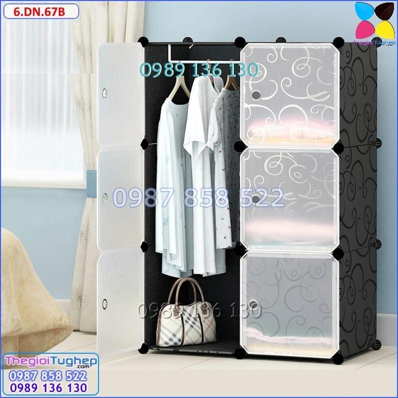 Tủ nhựa lắp ghép 6 ô, cửa trắng trong 6.DN.67