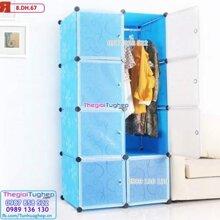 Tủ nhựa lắp ghép 8 ô hoa xanh dương, cửa trắng trong 8.DH.67
