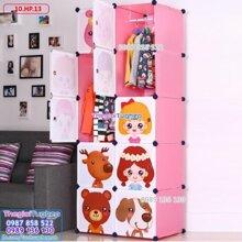 Tủ quần áo 10 ô, cửa công chúa 10.HP.13
