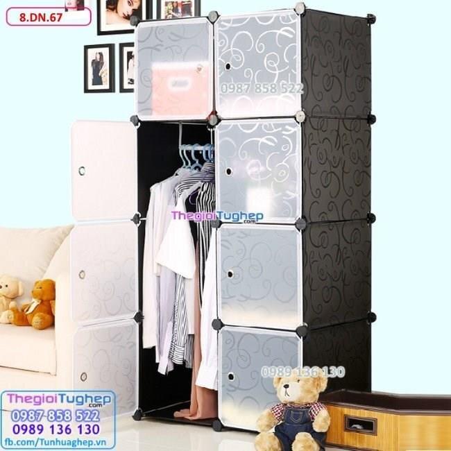 Tủ quần áo 8 ô, cửa trắng trong 8.DN.67