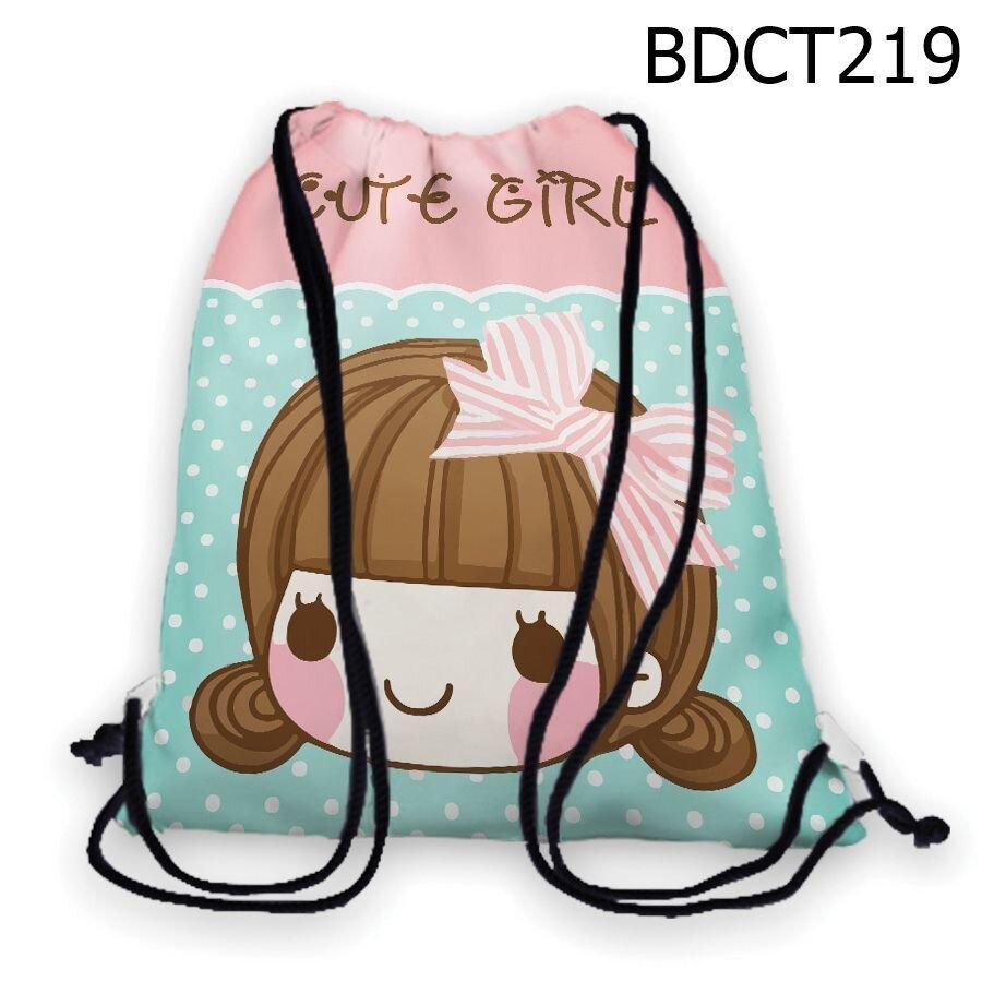 Túi rút Cô bé đeo nơ Cute Girl - BDCT219