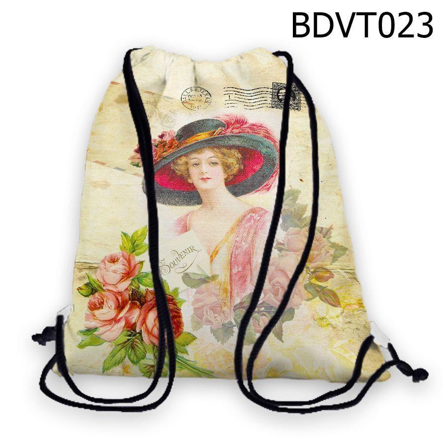Túi rút Cô gái đội nón Souvenir – BDVT023