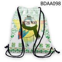 Túi rút in hình Cú quàng khăn len BDAA098