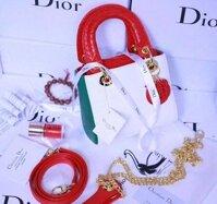 Túi Xách Dior 5 ô Kim Tuyến Đá Khoá Bạc F1 - Da lì
