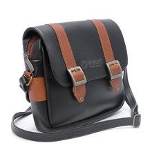Túi xách phối viền Huy Hoàng 2 khóa màu đen HH6163