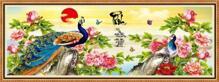 Tranh in canvas VTC Luna CV-0047 - đôi chim công chữ Phúc, 105 x 40cm