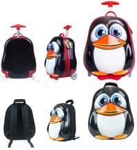Bộ ba lô và vali trẻ em hình chim cánh cụt ngộ nghĩnh Bouncie LG-14PG-BK01