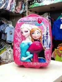 Vali kéo cho bé gái in hình 3D công chúa Frozen size lớn - màu xanh/ hồng