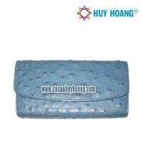 Ví nữ da đà điểu Huy Hoàng 3 gấp màu xanh dương CS3405 (HH3405)