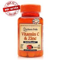 Viên ngậm bổ sung Vitamin C và kẽm Puritan's Pride Vitamin C & Zinc 60 viên