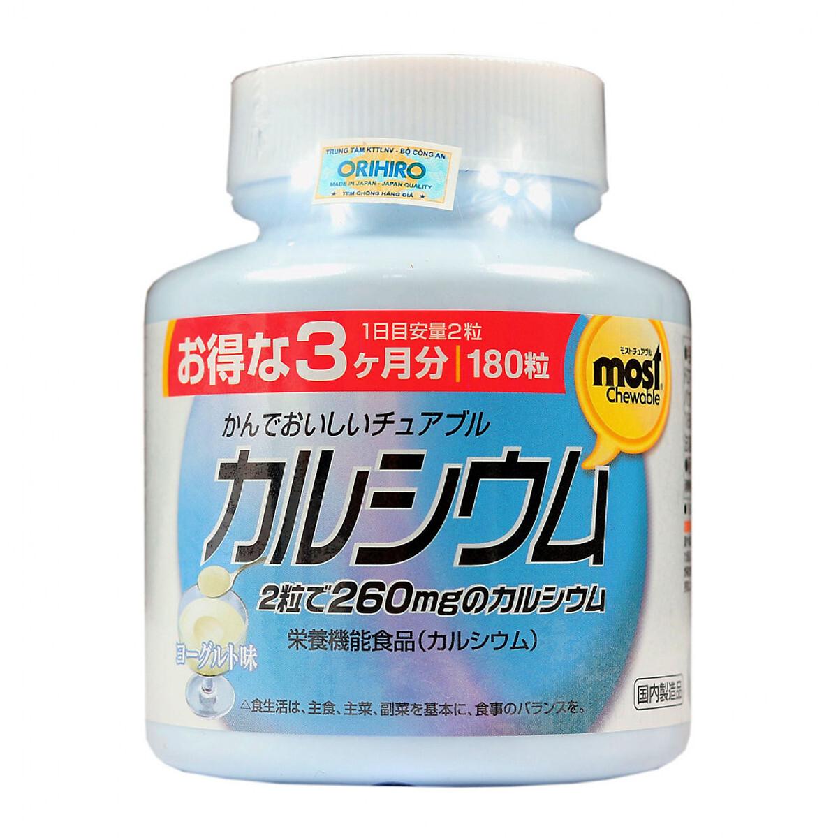 Viên nhai bổ sung Canxi Vitamin D Orihiro – 180 viên