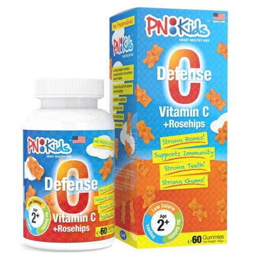 Viên nhai dẻo bổ sung vitamin C Pnkids Defense C - Vitamin C Rosehips 60 viên