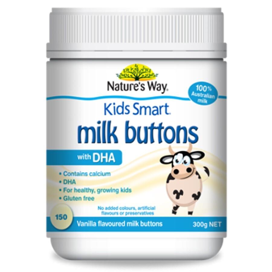 Viên nhai sữa DHA cho bé Nature's Way Kids Smart Milk Buttons with DHA Vanilla – 150 viên