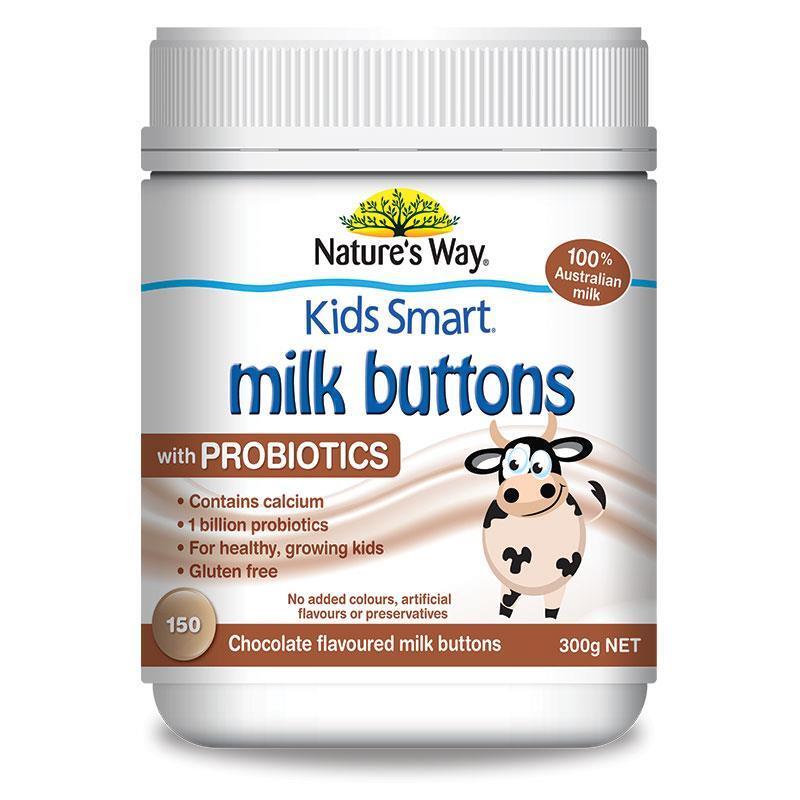 Viên nhai sữa tươi Nature's Way Kids Smart Milk Buttons with Probiotics – 150 viên