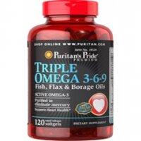 Viên uống bổ sung Omega chăm sóc tim mạch Puritan's Pride Triple Omega 3-6-9 - 120 viên