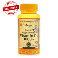 Viên uống bổ sung Vitamin D Puritan's  Pride Sunvite High-Potency Vitamin D3 1000IU 100 viên
