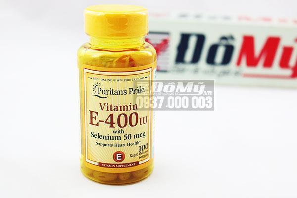 Viên uống bổ sung Vitamin E-400 iu Puritan's Pride with Selenium 50 mcg 100 viên của Mỹ