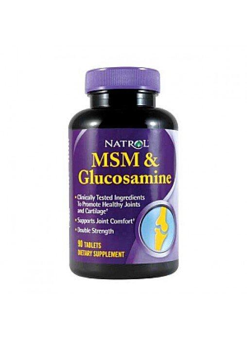 Viên uống hỗ trợ xương khớp NATROL MSM & GLUCOSAMINE DOUBLE STRENGTH (90 viên/hộp)
