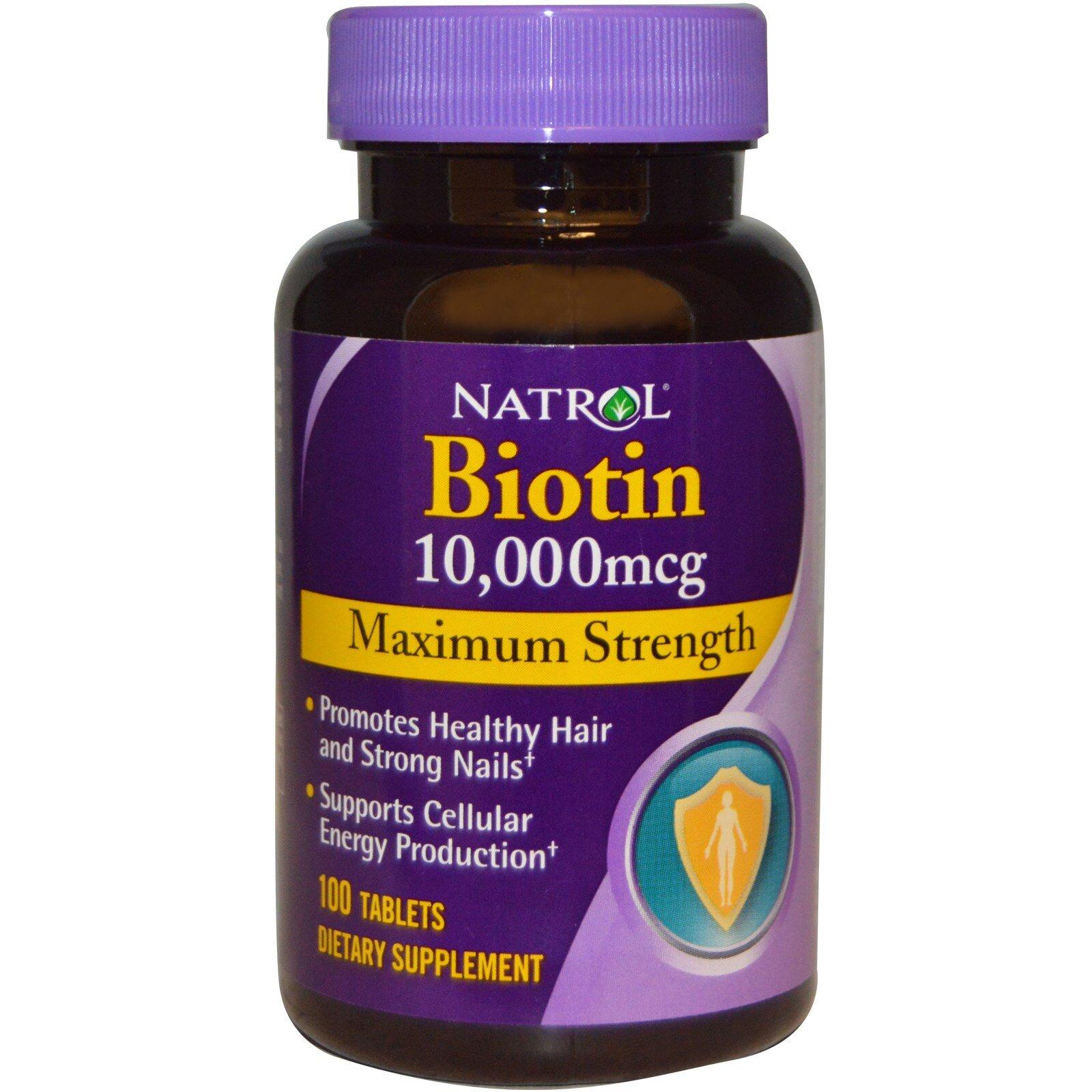 Viên uống mọc tóc Natrol Biotin 10000 mcg - 100 viên