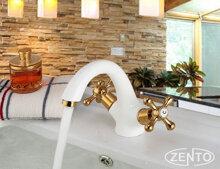 Vòi chậu rửa nóng lạnh mạ sứ giả cổ Zento ZT2081