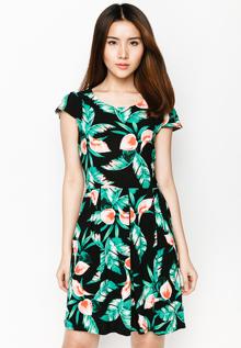 Đầm xòe Hoàng Khanh Fashion họa tiết màu xanh ngọc
