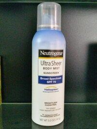Xịt chống nắng Neutrogena Ultra Sheer Body Mist Sunscreen Boad Spectrum SPF 70 141g
