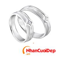 Nhẫn cưới vàng trắng NCD 2073
