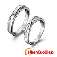 Nhẫn cưới vàng trắng NCD 2111