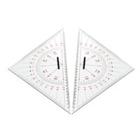 2pcs Navigation Triangular Protractor 300mm Acrylic Hypotenuse Nautical Squares