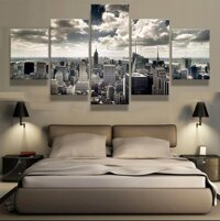 5 mảnh New York City Building Wall Art Ảnh Trang trí nội thất Phòng khách Canvas In tranh treo tường In Canva