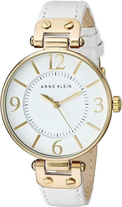Đồng hồ nữ Anne Klein 109168WTWT Gold-Tone Round White Leather Strap Watch