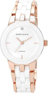 e004548e79848 Anne Klein Women s AK 1610WTRG Diamond Dial Rose Gold-Tone and White  Ceramic Bracelet ...