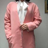 Áo khoác blazer hồng dâu phối trắng xịn Peace Bird Street