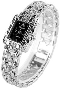 Auntwhale Silver Butterfly Band Womens Quartz Wrist Watches Square Dial Bracelet watch Ladies Watch Black dial
