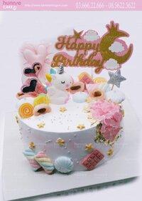 Bánh gato sinh nhật ngựa pony unicorn 1 sừng dễ thương với nhiều kẹo ngọt độc đáo tặng sinh nhật bé gái [MS: 5779] - Bánh ngon đẹp