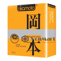 Bao cao su Okamoto Orange, có độ mỏng 0,05mm với hương thơm tự nhiên cam, kích thích quan hệ