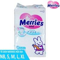 Bỉm - Tã Dán Merries Nội Địa Size NB90/S82/M64/L58