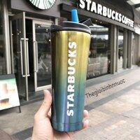 Bình Giữ Nhiệt Starbucks Tím Xanh Có Ống Hút B233