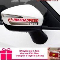 Bộ 2 tem dán gương xe ô tô (Mazda) - Tặng 1 tem dán kim loại Việt Nam