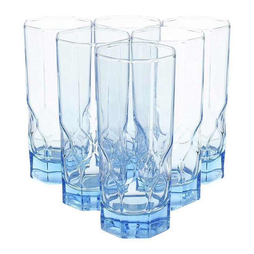 Bộ 6 ly thủy tinh cao LuminarccOctime Diamond Ice Blue J7981 280 ml