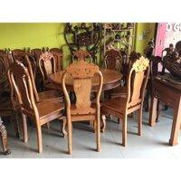Bộ bàn ăn tròn gỗ gõ đỏ 8 ghế