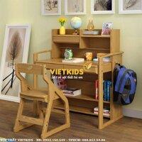 Bộ bàn học trẻ em – bàn học sinh gỗ tự nhiên -  bàn học thông minh – VBHE01