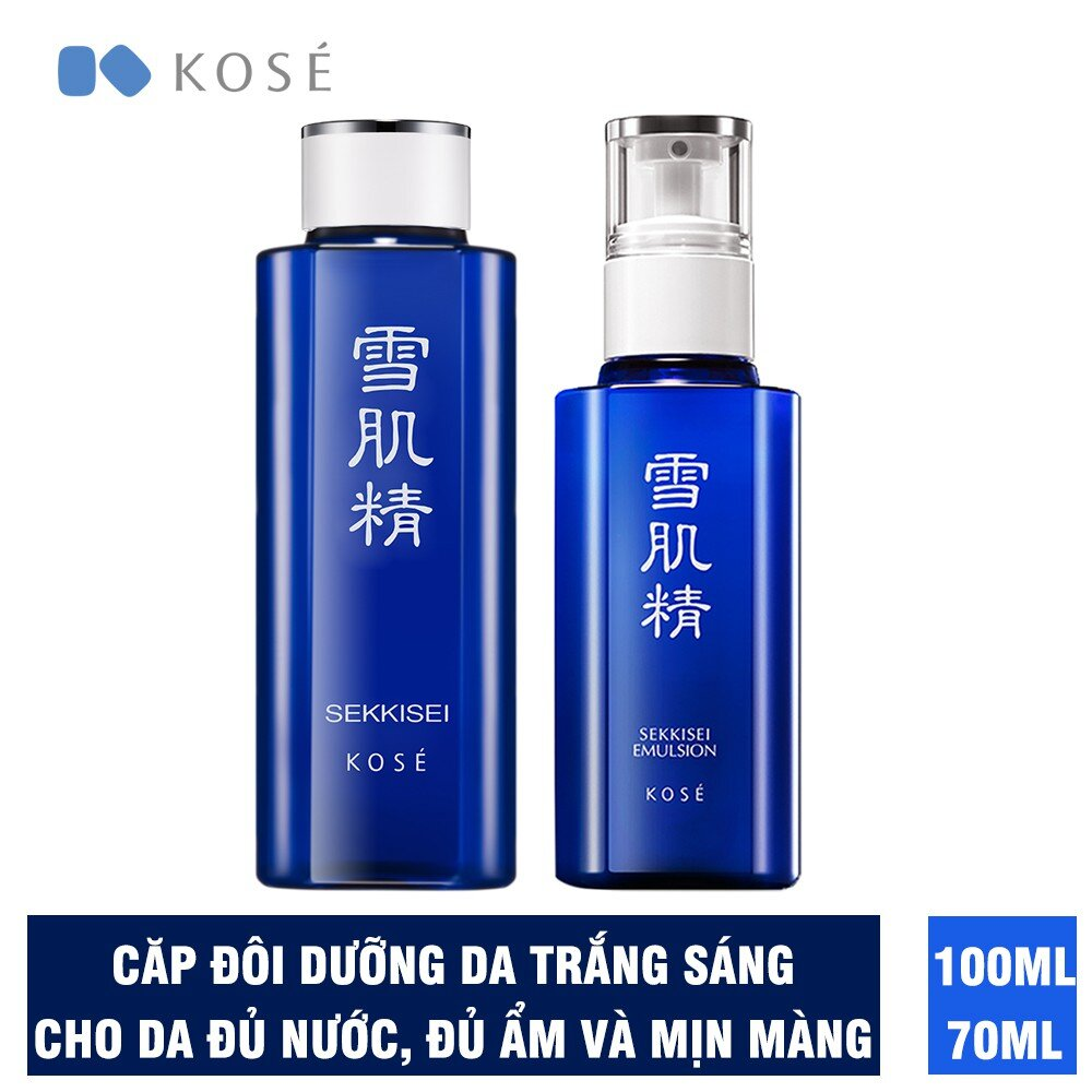 Bộ độ đôi làm trắng sáng da, cho da đủ nước đủ ẩm Kosé Sekkisei Lotion 100ml và Sekkisei Emulsion 70