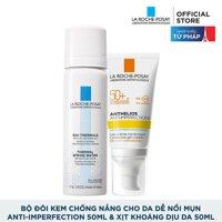 Bộ đôi Kem chống nắng bảo vệ da dành cho da bóng dầu dễ nổi mụn La Roche-Posay Anthelios Anti-Imperfection 50ml & Nước khoáng làm dịu da 50ml [bonus]