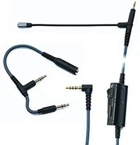 Boom Microphone Universal Volume for gaming PS4 Xbox One PC Laptop iphone Android phone to Sennheiser HD598 HD558 HD518 Audio-Technica ATH-M50x ATH-M40x ATH-M70x Headphone with 2.5mm jack(200CM-Black)