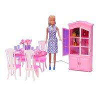 Búp Bê Barbie Nhà C @ P Phòng Ăn Bàn Tủ Bếp Bộ Cho Thiết Kế Cổ Điển Nội Thất Nhựa Đồ Chơi Cho Bé Gái LOL Búp Bê